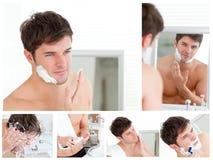 Collage eines Rasierens des jungen Mannes lizenzfreie stockfotografie