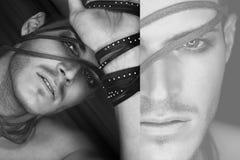 Collage eines schönen jungen Mannes mit Streifen des Leders Lizenzfreie Stockfotos
