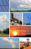 Collage electrical energy, power plant and power plant types Royalty Free Stock Image