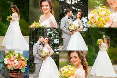 Collage of elegant happy sensual wedding at sunny day.  Royalty Free Stock Photography