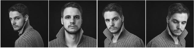 Collage of elegant man in cardigan. Emotion portrait Stock Photography