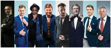 Collage of elegant men in suits Royalty Free Stock Photos