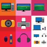 Collage elettronico dei dispositivi - televisione, macchina fotografica royalty illustrazione gratis