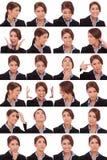 Collage emocional de las caras de una empresaria Imagen de archivo libre de regalías