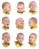 Collage. Emoties van weinig jongen Stock Fotografie