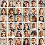 Collage emotion of people. Face collage of men and women expressions Stock Photos