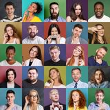 Diverse young people positive and negative emotions set. Collage of emotional diverse multiethnic people. Set of male and female positive and negative portraits royalty free stock photos