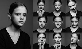 Collage of emotional portraits of young girls Stock Photo