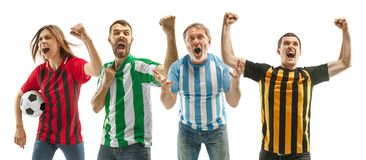 Collage about emotions of football fans stock image