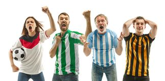 Collage about emotions of football fans stock photo
