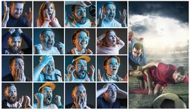 Collage about emotions of football fans watching soccer on tv. Collage about emotions of friends or football fans watching soccer on tv and celebrating victory Royalty Free Stock Photo