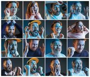 Collage about emotions of football fans watching soccer on tv. Collage about emotions of friends or football fans watching soccer on tv and celebrating victory Stock Image