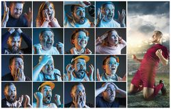 Collage about emotions of football fans watching soccer on tv. Collage about emotions of friends or football fans watching soccer on tv and celebrating victory Royalty Free Stock Image