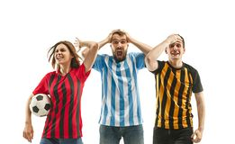 Collage about emotions of football fans royalty free stock images
