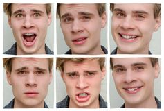Collage of emotions and moods of teen boy in one day. Collage of changing moods, feelings and expressions on face of teenager boy Stock Image