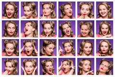 Collage with emotions. Collage of pinup girl or woman with different facial expressions. Composite of positive and negative emotions in studio Stock Photos