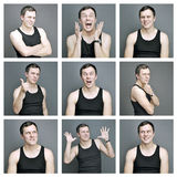 Collage of emotions of a young man Stock Photography