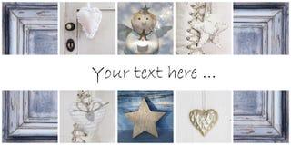 Collage en azul - ideas de la Navidad para la decoración o una c de saludo Foto de archivo libre de regalías