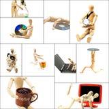 Collage en bois de mannequin Photos stock