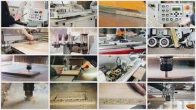 Collage en el tema de la producci?n de muebles almacen de metraje de vídeo