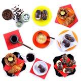 Collage en el tema del café, de tortas y del cruasán Imagen de archivo libre de regalías