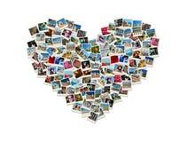 Collage en forma de corazón hecho de las fotos del recorrido del mundo Foto de archivo