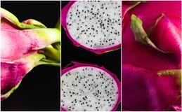 Collage en gros plan de Dragonfruit sur le fond noir Photographie stock libre de droits