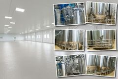 Collage equipment for beer production. Private brewery, Contemporary large steel barrels in winery, food industry stock photos
