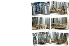 Collage on white background equipment for beer production. Collage equipment for beer production, private brewery, Contemporary large steel barrels in winery royalty free stock image