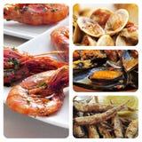 Collage espagnol de tapas de fruits de mer Images stock