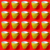 Collage with espresso cup in pop art style. Big collage with yellow espresso cup on red background in pop art style Royalty Free Stock Photo