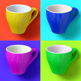 Collage with espresso cup in pop art style. Siparated to four part in different colors Stock Images