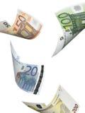 Collage euro de la cuenta aislado en blanco Foto de archivo
