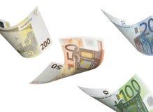 Collage euro de la cuenta aislado en blanco Fotografía de archivo