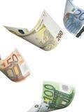 Collage euro de la cuenta aislado en blanco Fotos de archivo