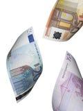 Collage euro de la cuenta aislado en blanco Imagen de archivo
