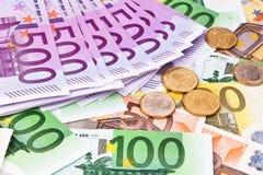Collage euro del dinero en circulación Fotos de archivo