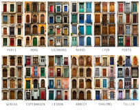 Collage of European doors Royalty Free Stock Photography