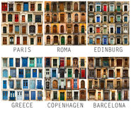 Collage of European doors with names Royalty Free Stock Images