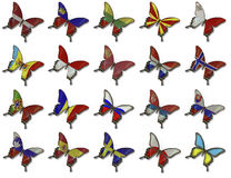 Collage from European flags on butterflies Stock Photos