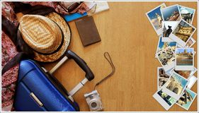 Collage of European landmarks, set of Travel Images. Suitcase and tourist stuff on wooden background stock photo