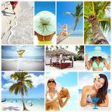 Collage exótico del centro turístico de lujo. fotos de archivo