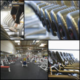 Collage of exercise equipment at gym Stock Photo