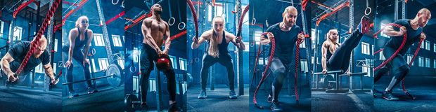 Collage about exercises in the fitness gym. Collage about men with battle rope and women in the fitness gym. The gym, sport, rope, training, athlete, workout royalty free stock images