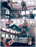 Collage about exercises in the fitness gym. Collage about men with battle rope and women in the fitness gym. The gym, sport, rope, training, athlete, workout royalty free stock image