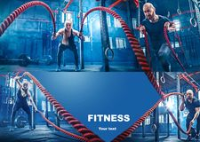 Collage about exercises in the fitness gym. Collage about men with battle rope and women in the fitness gym. The gym, sport, rope, training, athlete, workout stock images