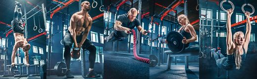 Collage about exercises in the fitness gym. Collage about men with battle rope and women in the fitness gym. The gym, sport, rope, training, athlete, workout stock image