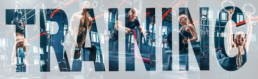 Collage about exercises in the fitness gym. Collage about men with battle rope and women in the fitness gym. The gym, sport, rope, training, athlete, workout stock photo