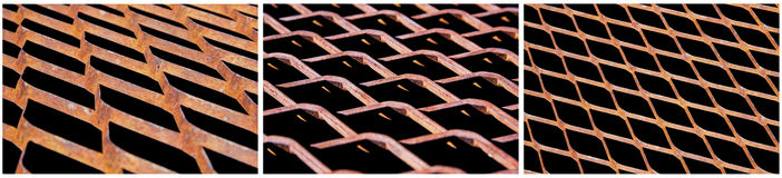 Collage expanded steel grate rusty isolated Royalty Free Stock Photo