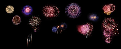 Collage of exploding fireworks Stock Photo